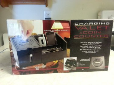 charging valet with coin counter drawer satin black finish room  electronic