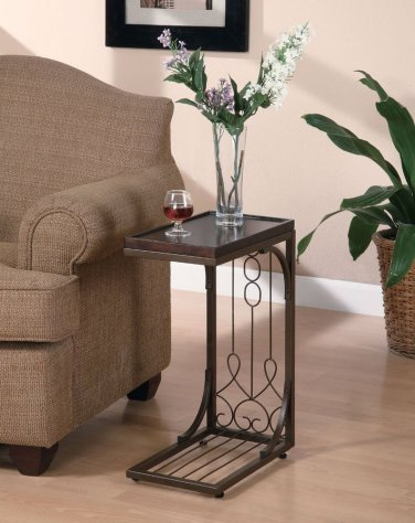 Snack Table end table Burnished Copper Base Traditional design decor family
