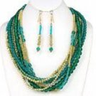 Long Multi Strand Necklace With Earring Set