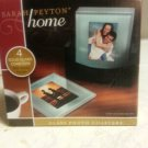4 Glass photo coasters with wood holder home decor table top family fun moment