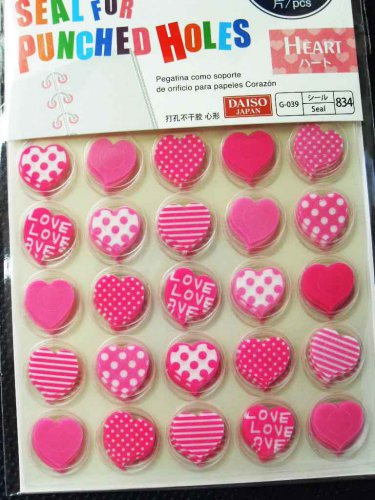 Punched Holes Seal Ring Reinforcement Binder Protector Plastic Heart Sticker 280pc