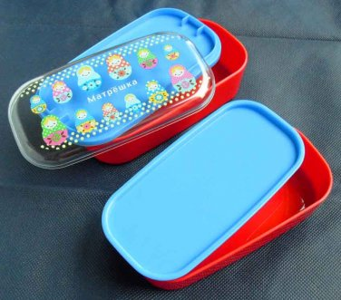 2 Layer Lunch Box Bento Case MaTpewka Plastic Container with Clear Lid and Silicone Belt