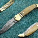 Astonishing Custom Hand Made Marvelous Damascus Steel Folding Knife (HK-277)