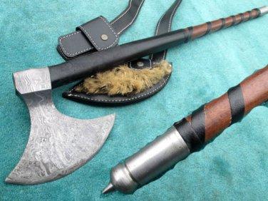 """32"""" Astonishing Custom Hand Made Marvelous Damascus Steel Viking AXE (HK-213)"""