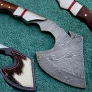 Astonishing Custom Hand Made Marvelous Damascus Steel Axe Knife (HK-224)