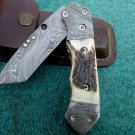 Custom Hand Made Marvelous Damascus Steel Folding Knife (HK-219)