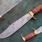CUSTOM MADE HANDMADE DAMASCUS STEEL HUNTING BOWIE KNIFE (HK-506)