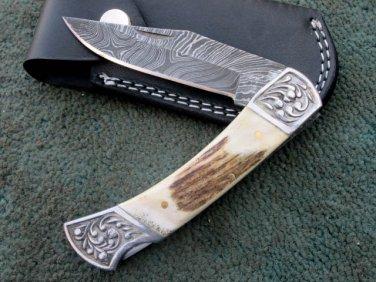 HANDMADE CUSTOM MANUFACTURED DAMASCUS STEEL POCKET FOLDING KNIFE (HK-19-2)