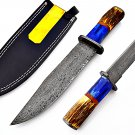 SUPERB HANDMADE DAMASCUS BLADE HUNTING KNIFE HUNTING BOWIE KNIFE