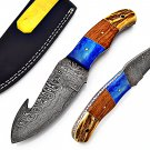 SUPERB CUSTOM HAND MADE DAMASCUS BLADE HUNTING KNIFE / GUT HOOK SKINNING KNIFE