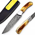 SUPERB CUSTOM HAND MADE DAMASCUS STEEL FULL TANG HUNTING KNIFE WITH STAG'S HORN