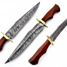 SUPERB CUSTOM HAND MADE DAMASCUS STEEL HUNTING BOWIE KNIFE / WITH LEATHER SHEATH