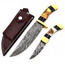SUPERB CUSTOM HAND MADE DAMASCUS KNIFE , SET OF HUNTING KNIFE / FOLDING KNIFE