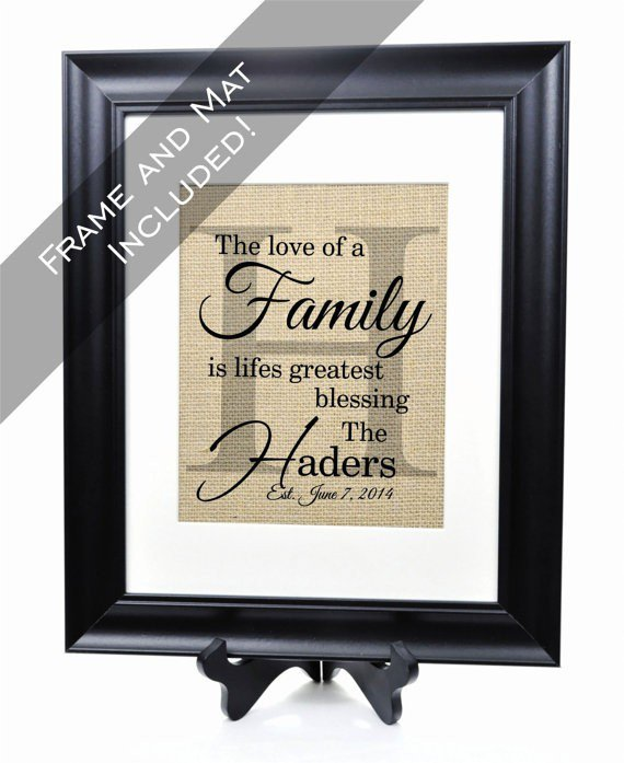 The Family Burlap Print + Frame and Mat
