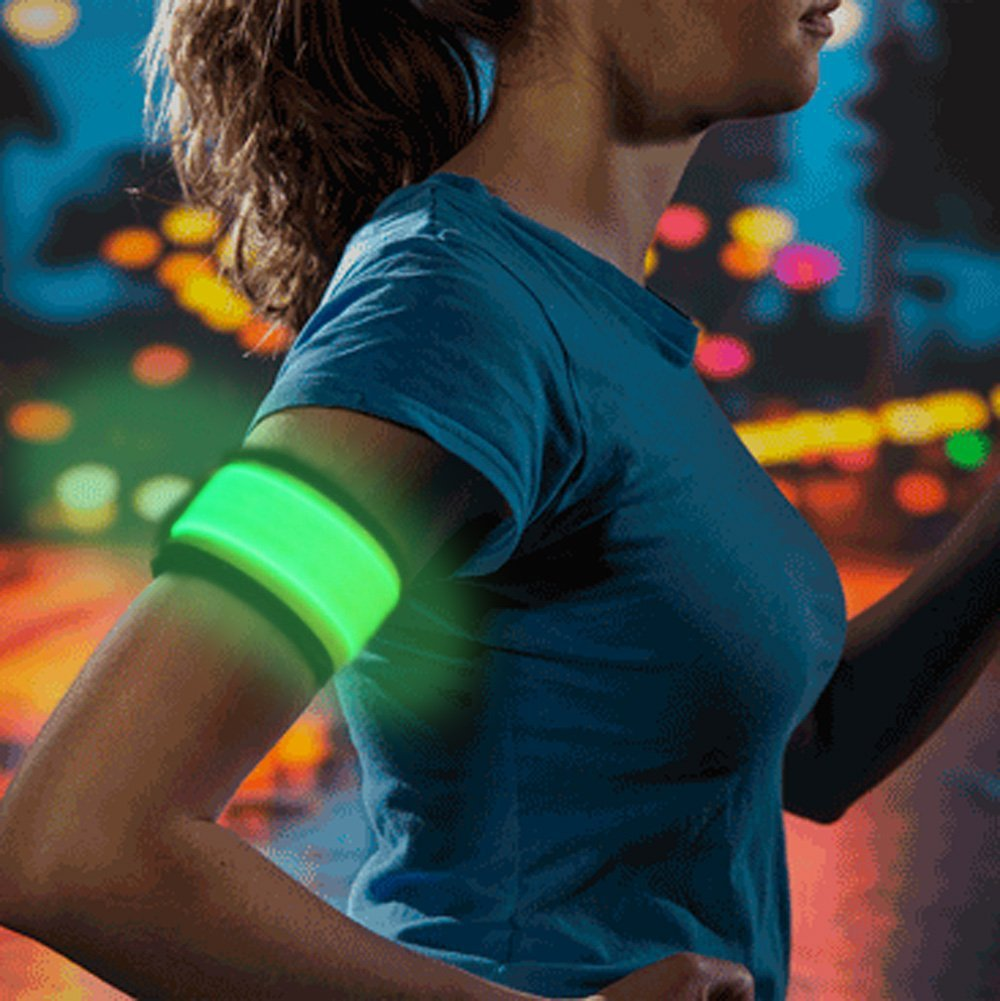 LED Slap Armband, Lights for Running (Green or Yellow)