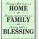 Home Family Blessing Mounted Print 16 x 20