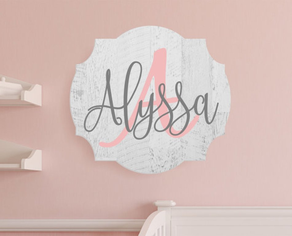 Personalized Nursery Baby Name Sign In Rustic Finish 10 x 13