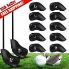 12 pcs Black PU Leather Golf Iron Head covers
