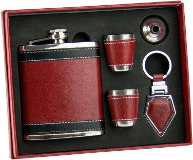 7 oz Leather Flask Set... 5 pieces...Amazing Set