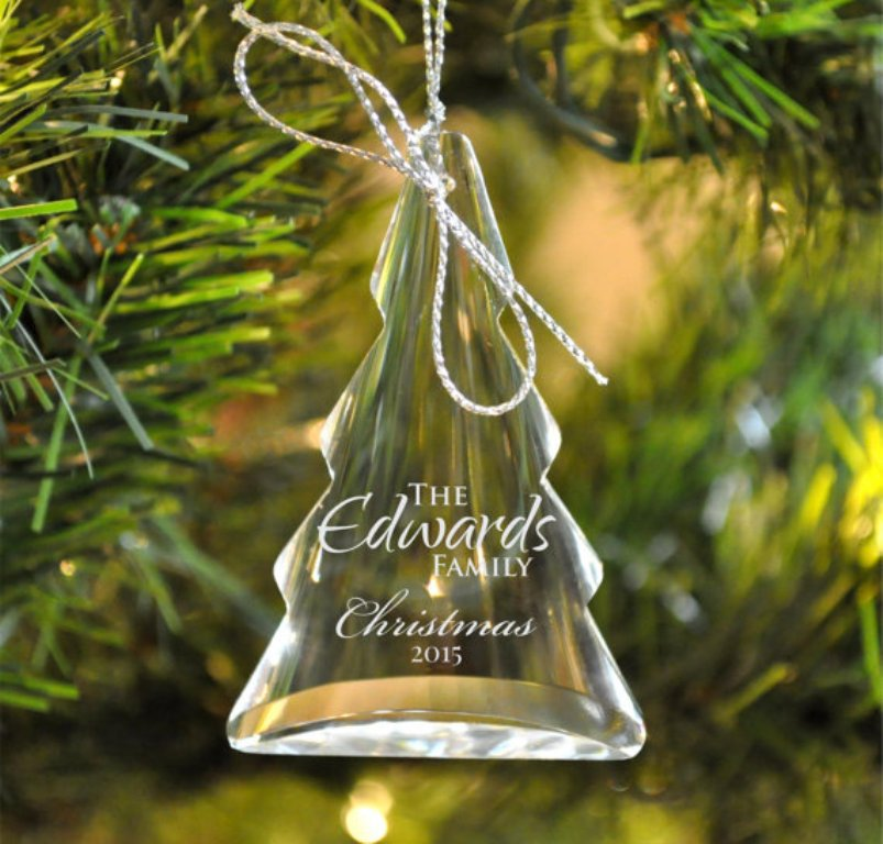 Personalized Christmas Tree Ornament Laser Engraved Crystal