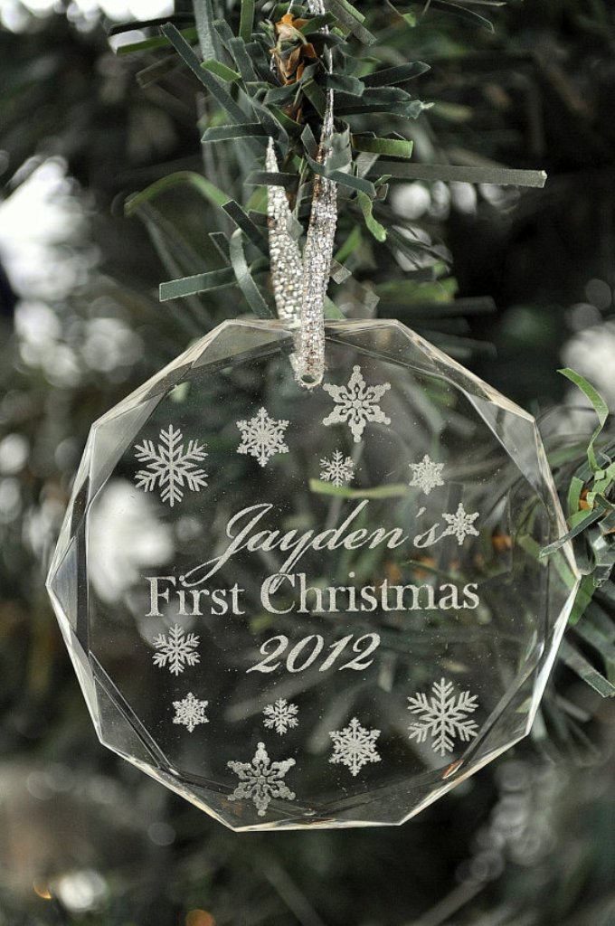 Personalized Christmas Ornament Laser Engraved Crystal