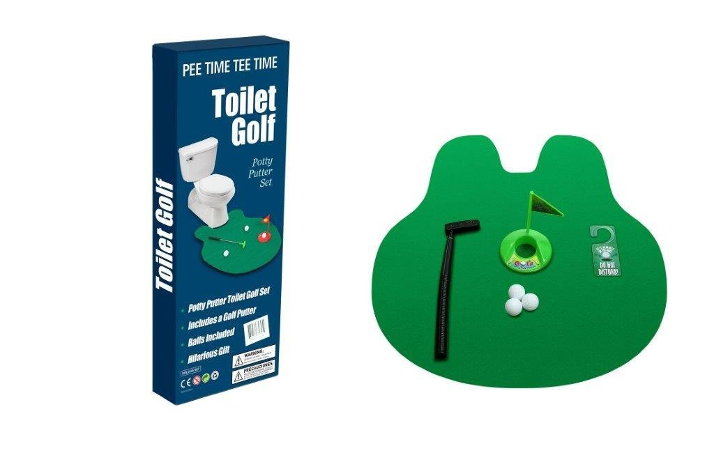 Toilet Golf - Putter Practice in the Bathroom Toy with this Potty Putter