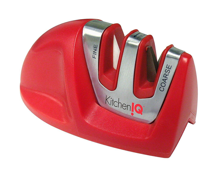 Kitchen IQ  Edge Grip 2 Stage Knife Sharpener, Red