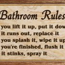 Bath Rules: Rustic Wall Plaque
