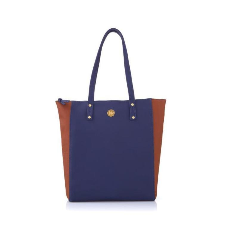 JOY Morgano Leather Colorblock Tote with Power of RFID (BLUE)