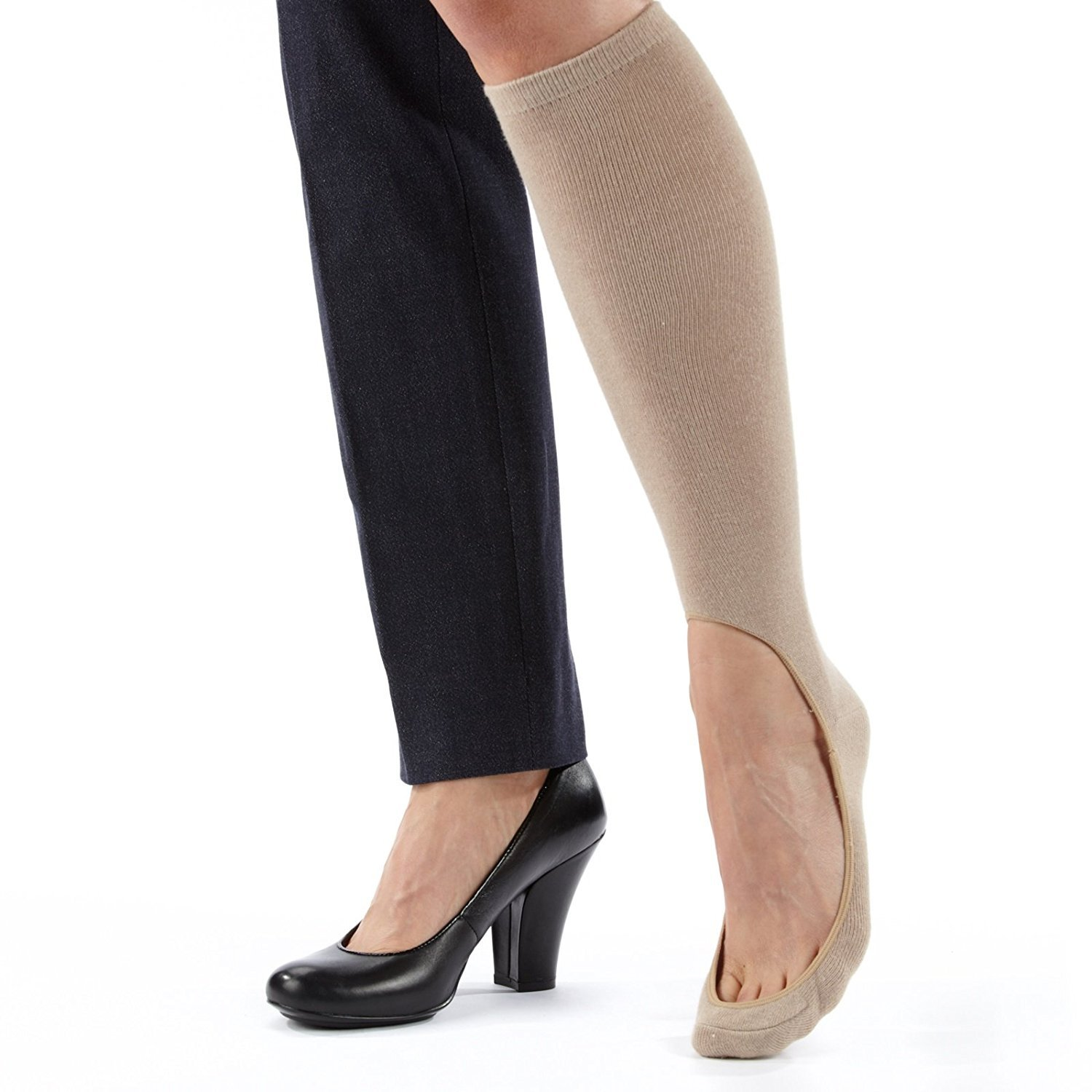 No Show Sock 2 pair (One Black & One Nude)