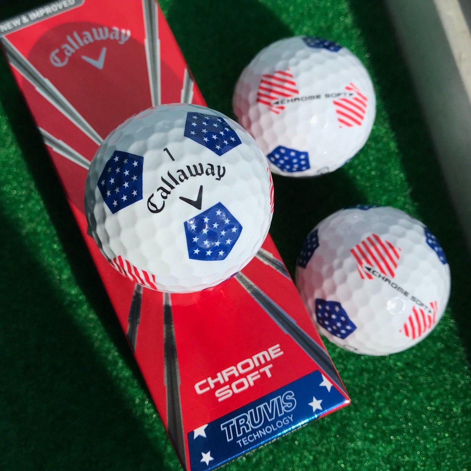 Calloway 2018 Chrome Soft Golf Balls (3 balls)  Red, White & Blue Edition