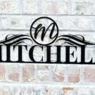 Personalized Outdoor Metal Name Sign with Circle Monogram