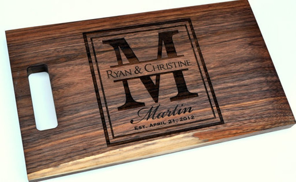 Large Initial Wood Cutting Board (Maple or Cherry) 8 x 14 inches