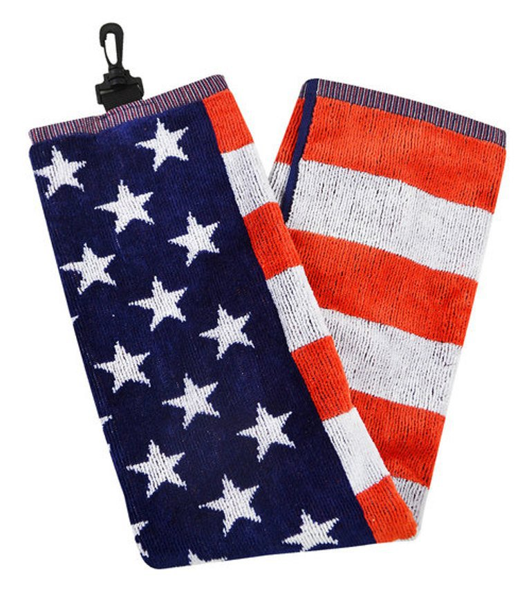 USA Golf Towel   100% cotton tri fold with carabiner  (IN Stock 11/21)