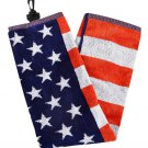 """USA Golf Towel   100% cotton tri fold with carabiner    Large 16"""" x 24"""""""