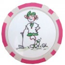 Pink Lady Golf Ball Marker + One Ladies Colored Golf Ball