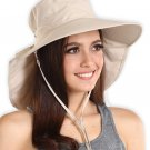 UV Protection Sun Hat with Neck Flap & Chin Strap (Tan)
