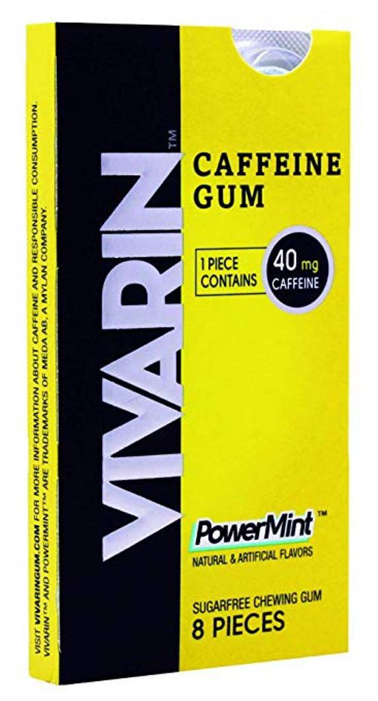 Vivarin Caffeine Gum, 8 Pieces, Sugarfree Chewing Gum (1 pak of 8 pieces)