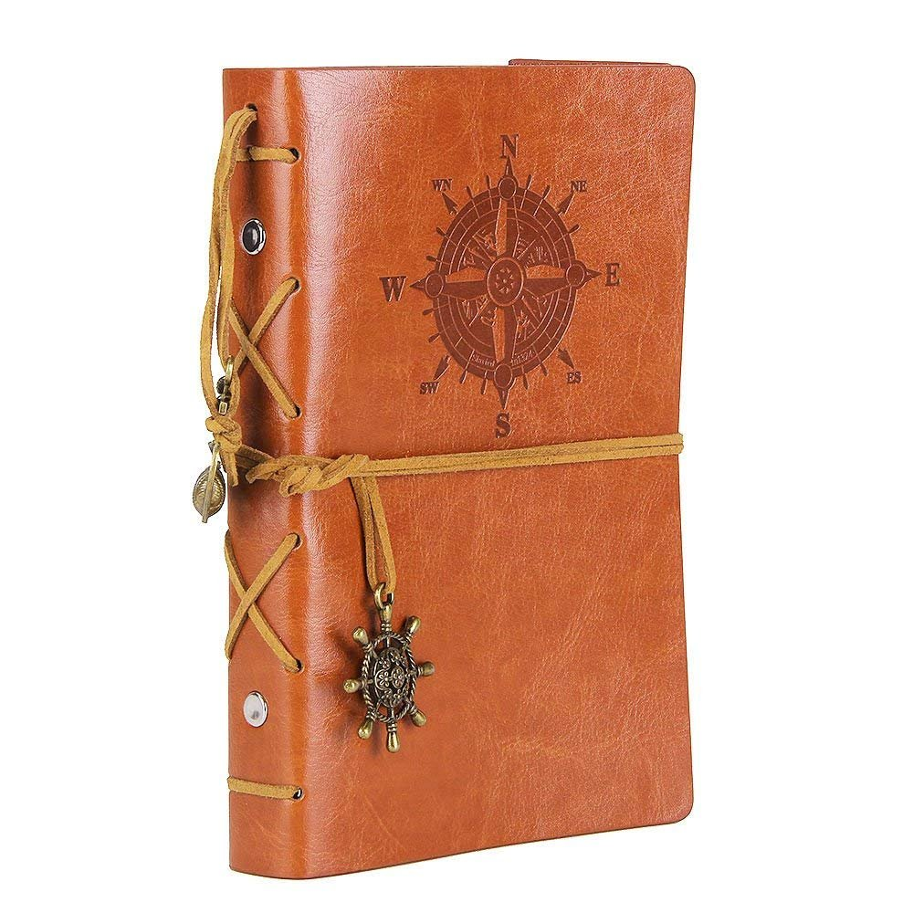 Leather Writing Journal Notebook, 7 Inches Vintage Nautical Design (brown)