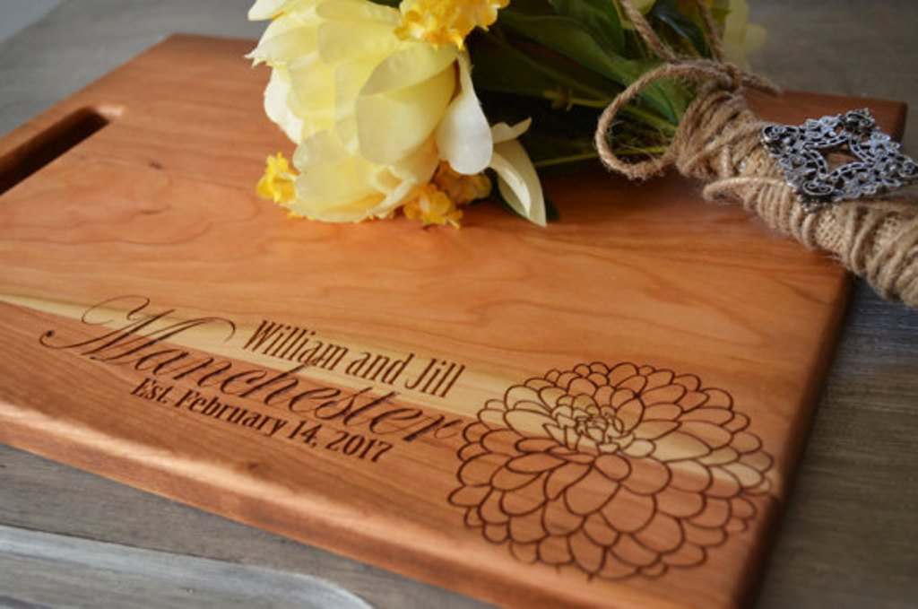 Personalized Flower Engraved Cutting Board 8 x 14 inches