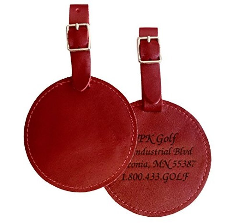 100% Leather Bag or Luggage Tag: Personalized (1) (ONE Side Engraving)
