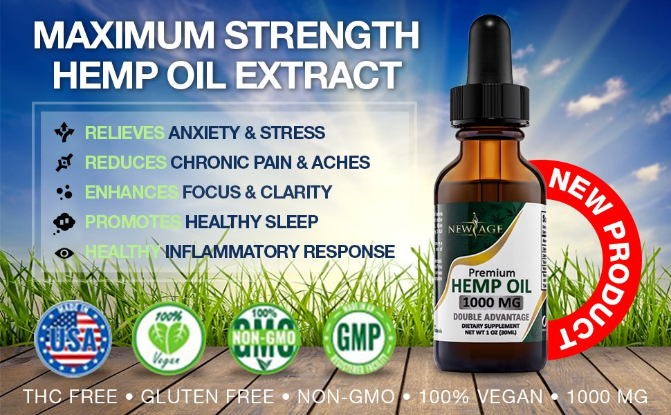 Hemp Oil Extract for Pain & Stress Relief - 1000mg (1 bottle)