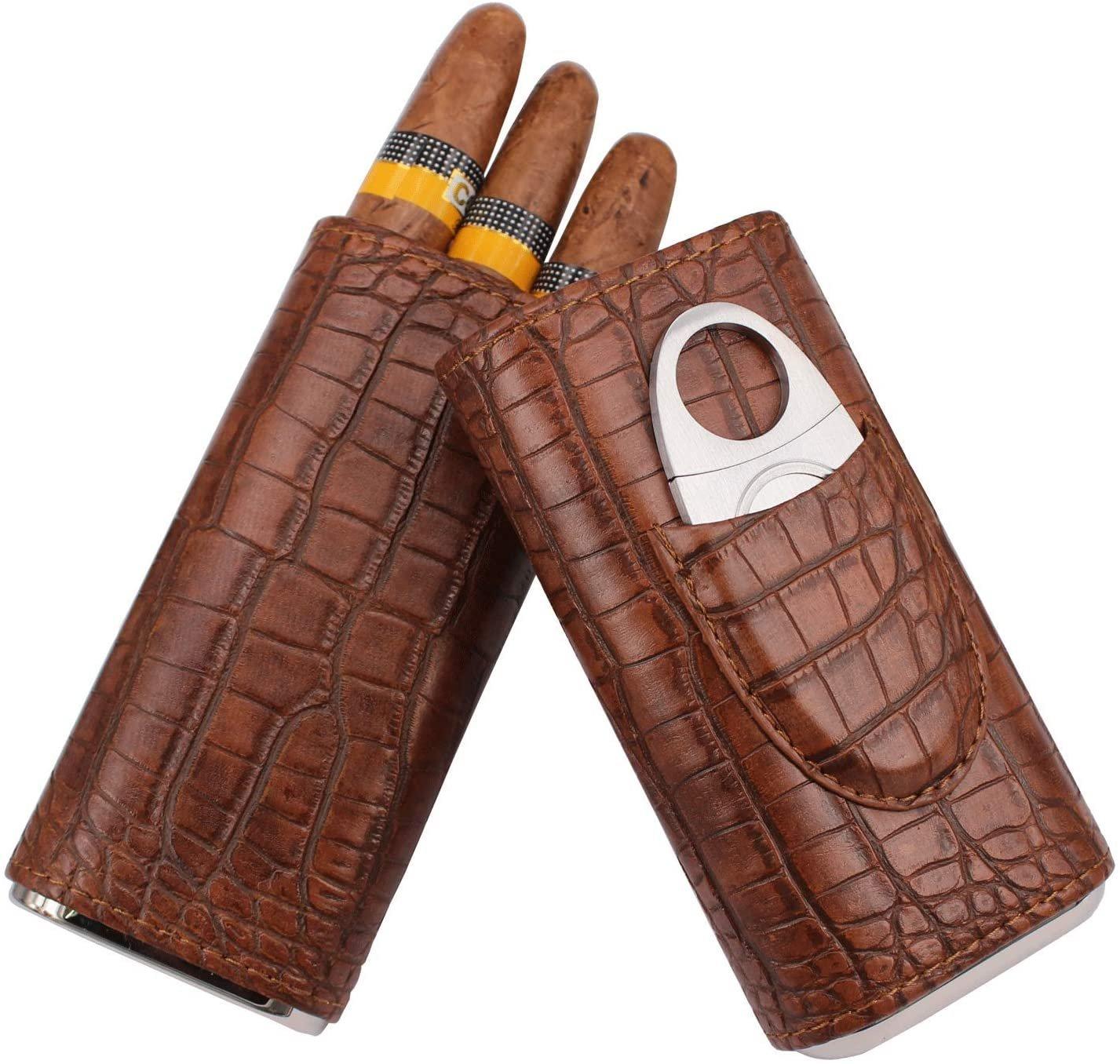 AMANCY 3 Holder Elegant Vintage Style Crocodile Leather Cigar Case w/ Cedar Wood Lined
