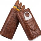 AMANCY 3 Holder Elegant Vintage Style Crocodile Leather Cigar Case w/ Cedar Wood Lined