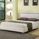 Modern Platform (Queen - White Bed with Crystal Button Tufting