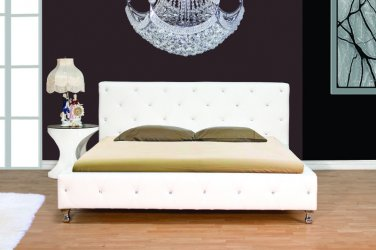 Studio Fix Platform Bed (White - Cal King) with Crystal Studs