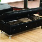 Classic Storage Bench w/ Tufted Crystal Studs (Black)
