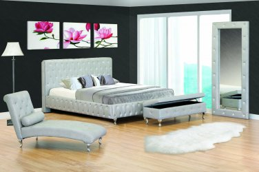 Madison Cal King Size Modern Silver Platform Bed with Cystals