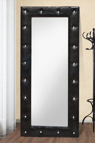 6017 (Black) - Exclusive Full Length Synthetic Mirror with Tufted Look and Crystals