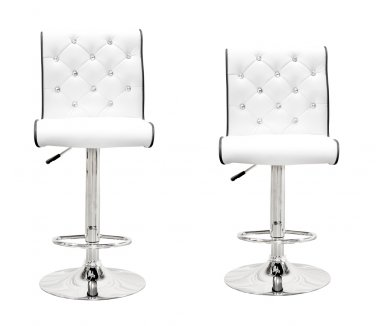 ST8226 (White) - 2 Pcs Modern Swivel Bar Stools w/ Crystals and Tufted Look